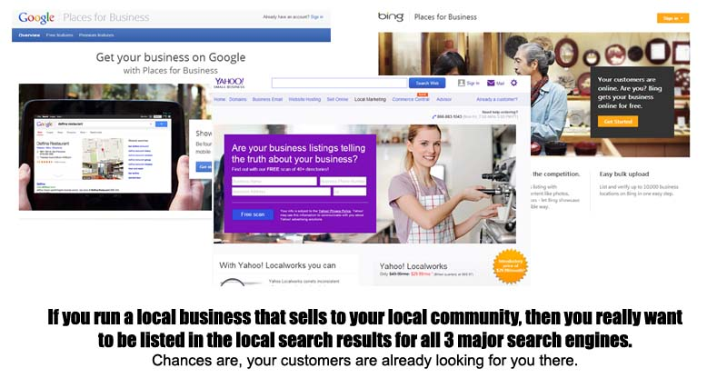 local business listings on google bing and yahoo