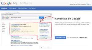 Google Adwords screen capture