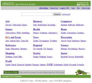 screenshot of open directory project